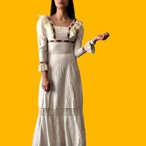 70's prairie maxi dress